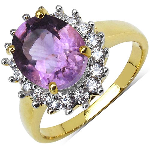 Amethyst:Oval/10X8mm 1/2.50 ctw + Cubic Zircon White:Round/1.50mm 18/0.54 ctw #29610v3