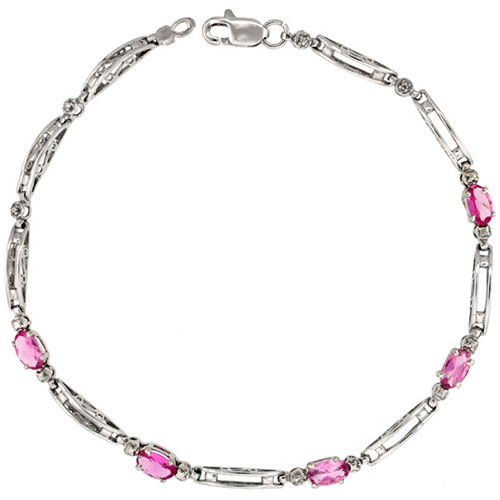 10k White Gold Out Bar Tennis Bracelet 0.05 ct Diamonds & 1.25 ct Oval Pink Topaz, 1/8 inch wide #16326v3