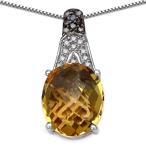 Citrine:Oval/12x10mm 1/4.35 ctw + Diamond Champagne:Round/1.20mm 8/0.07 ctw + Diamond White:Round/1.10mm 11/0.08 ctw #29478v3