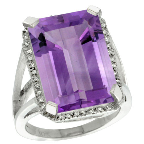 10K White Gold Natural Diamond Amethyst Ring Emerald-cut 18x13mm, sizes 5-10 #15569v3