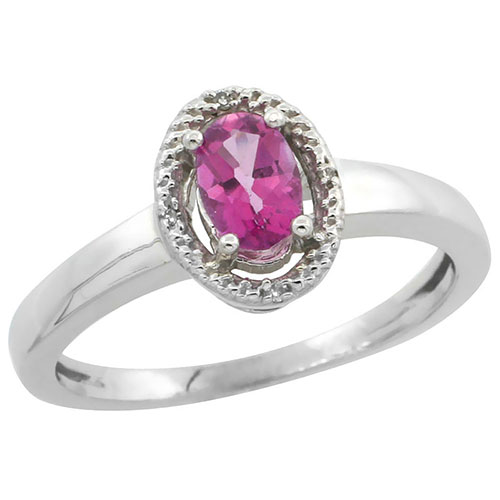 10K White Gold Diamond Halo Natural Pink Topaz Ring Oval 6X4 mm, sizes 5-10 #16314v3
