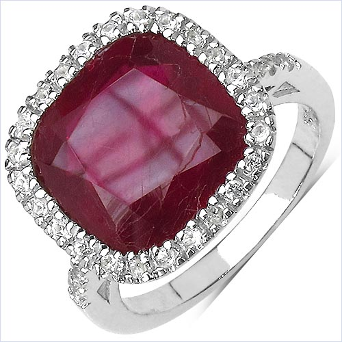 Ruby:Cushion/12.00mm 1/7.25 ctw + Topaz White:Round/1.20mm 30/0.30 ctw #29573v3