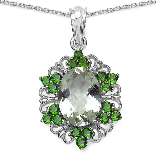 Amethyst Green:Oval/14x10mm 1/5.30 ctw + Chrome Diopside:Round/2.40mm 18/1.26 ctw #29853v3