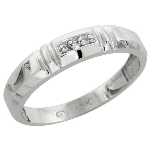 10k White Gold Ladies Diamond Wedding Band Ring 0.02 cttw Brilliant Cut, 5/32 inch 4mm wide #16292v3
