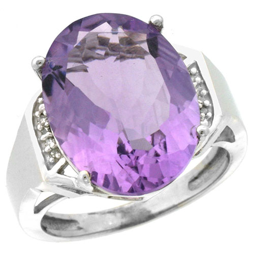 10K White Gold Diamond Natural Amethyst Ring Oval 16x12mm, sizes 5-10 #15567v3