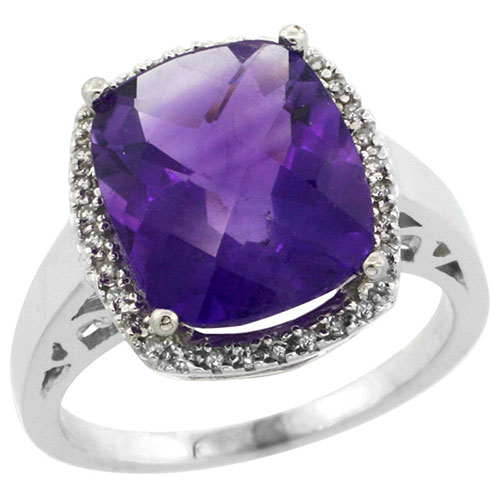 10K White Gold Diamond Natural Amethyst Ring Cushion-cut 12x10mm, sizes 5-10 #15560v3