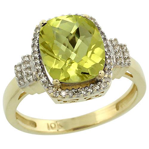 10k Yellow Gold Natural Lemon Quartz Ring Cushion-cut 9x7mm Diamond Halo, sizes 5-10 #16306v3
