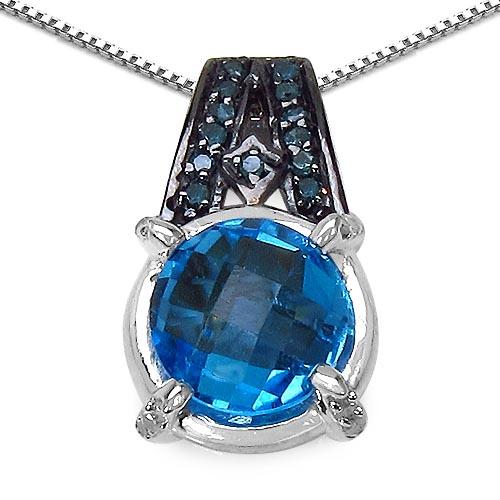 Blue Topaz(Swiss): + Diamond Blue:Round/1.10mm 16/0.11 ctw + Diamond White:Round/1.10mm 12/0.08 ctw #29479v3