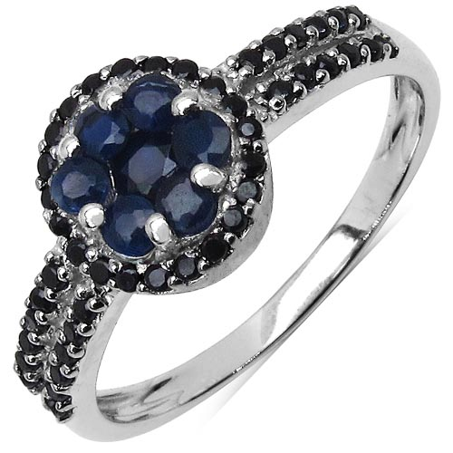 Sapphire Blue:Round/2.00mm 7/0.40 ctw + Black Spinel:Round/1.00mm 41/0.31 ctw #29619v3