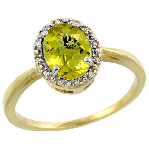 10k Yellow Gold Natural Lemon Quartz Ring Oval 8x6 mm Diamond Halo, sizes 5-10 #16304v3