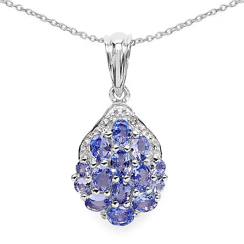 Tanzanite:Oval/4x3mm 10/1.70 ctw + Tanzanite:Round/2.50mm 4/0.36 ctw + Diamond White:Round/1.00mm 3/0.02 ctw #29714v3