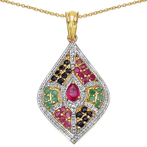 Ruby Glass Filled:Pears/6x4mm 1/0.45 ctw + Emerald:Round/1.90mm 10/0.50 ctw + Ruby:Round/1.90mm 12/0.60 ctw + Sapphire Blue:Round/1.90mm 12/0.48 ctw #29464v3