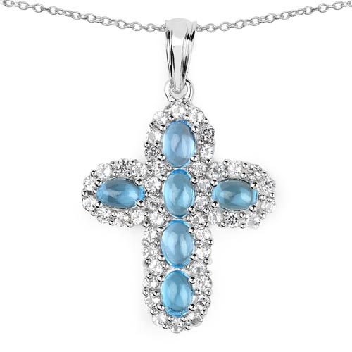 Blue Topaz(Swiss): + Topaz White:Round/1.90mm 44/2.20 ctw #29739v3