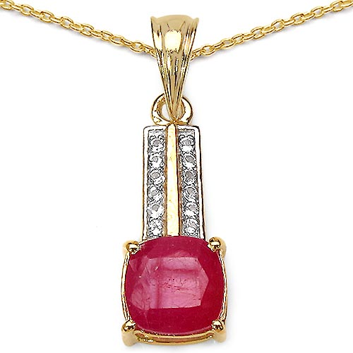 Ruby:Cushion/ 8.00mm 1 /3.40 ctw + Topaz White:Round/1.20mm 12 /0.12 ctw #29439v3