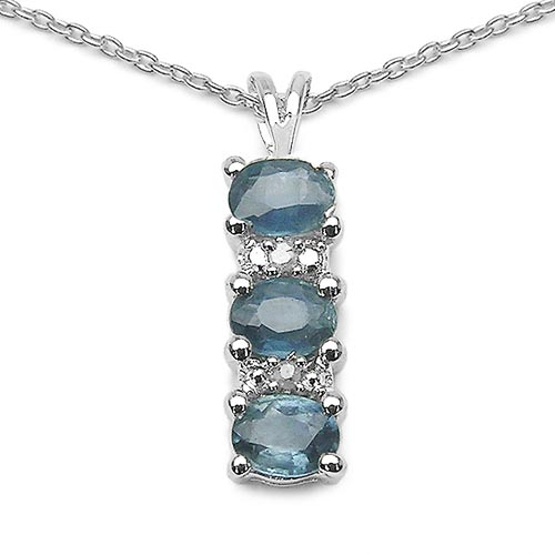 Sapphire Blue:Oval/4x3mm 3/0.66 ctw + Diamond White:Round/1.00mm 2/0.01 ctw #29693v3