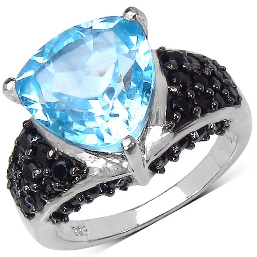 Black Spinel:Round/ 1.80mm 34/1.30 ctw + Topaz Blue:Trillion/ 11.00mm 1/4.25 ctw #29576v3