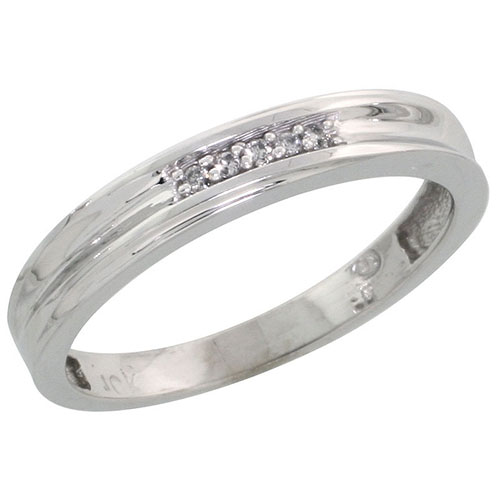 10k White Gold Ladies Diamond Wedding Band Ring 0.03 cttw Brilliant Cut, 1/8 inch 3.5mm wide #16288v3