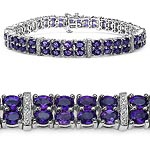 Amethyst:Oval/4x3mm 76/15.20 ctw + Sapphire White:Round/1.00mm 10/0.10 ctw #28079v3