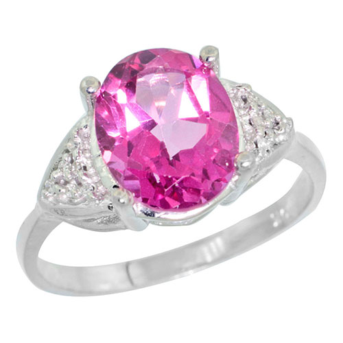 10k White Gold Diamond Natural Pink Topaz Ring Oval 10x8mm, sizes 5-10 #16318v3