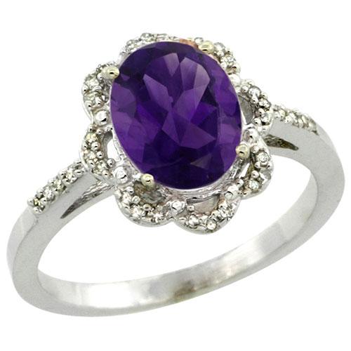 10K White Gold Diamond Halo Natural Amethyst Ring Oval 9x7mm, sizes 5-10 #15541v3