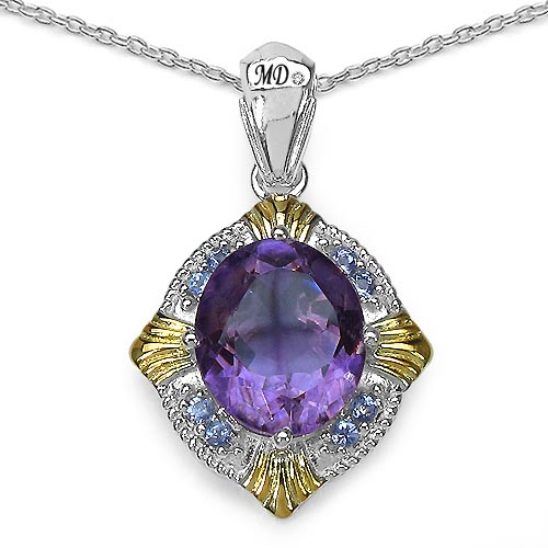 Amethyst:Oval/13x11mm 1/5.28 ctw + Tanzanite:Round/2.00mm 8/0.28 ctw + Diamond White:Round/0.90mm 1/0.01 ctw #29485v3