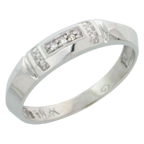 10k White Gold Ladies Diamond Wedding Band Ring 0.02 cttw Brilliant Cut, 5/32 inch 4mm wide #16291v3