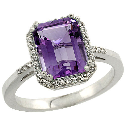 10K White Gold Natural Diamond Amethyst Ring Emerald-cut 9x7mm, sizes 5-10 #15558v3