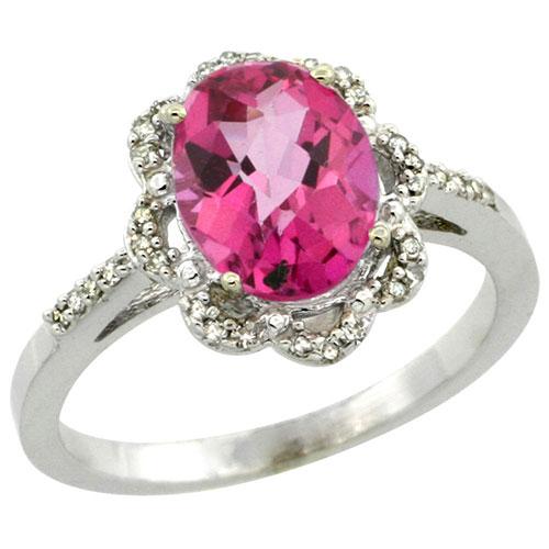 10K White Gold Diamond Halo Natural Pink Topaz Ring Oval 9x7mm, sizes 5-10 #16315v3