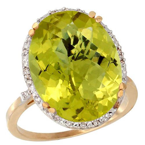10k Yellow Gold Natural Lemon Quartz Ring Large Oval 18x13mm Diamond Halo, sizes 5-10 #16305v3