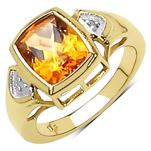 Citrine:Cushion/10x8mm 1/2.60 ctw + Topaz White:Round/1.00mm 2/0.01 ctw #29539v3