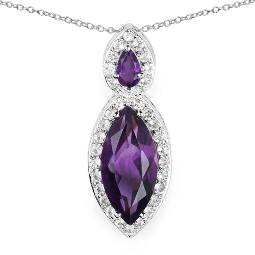 Amethyst:Marquise/15x7mm 1/2.53 ctw + Amethyst:Pears/5x3mm 1/0.22 ctw + Topaz White:Round/1.40mm 39/0.78 ctw #29743v3