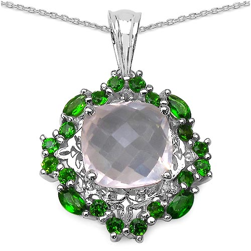 Quartz Rose:Cushion/ 10.00mm 1 /3.39 ctw + Chrome Diopside:Marquise/4x2mm 4 /0.32 ctw + Chrome Diopside:Round/2.00mm 16 /0.80 ctw #29767v3