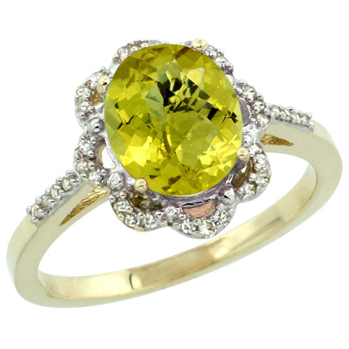 10K Yellow Gold Natural Lemon Quartz Diamond Halo Ring Oval 11x9mm, sizes 5-10 #16298v3