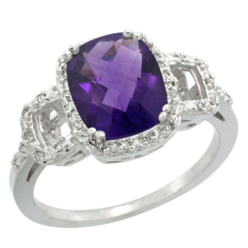 10K White Gold Diamond Natural Amethyst Ring Cushion-cut 9x7mm, sizes 5-10 #15564v3