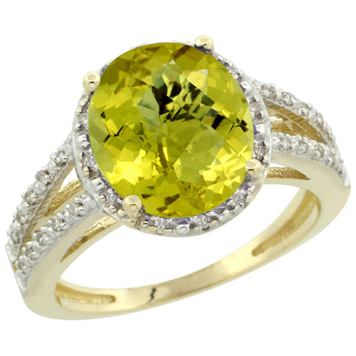 10K Yellow Gold Diamond Halo Natural Lemon Quartz Ring Oval 10x8mm, sizes 5-10 #16299v3