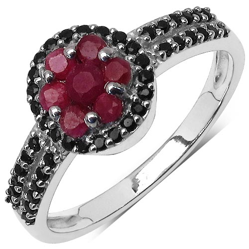 Ruby:Round/2.00mm 7/0.40 ctw + Black Spinel:Round/1.00mm 41/0.31 ctw #29621v3