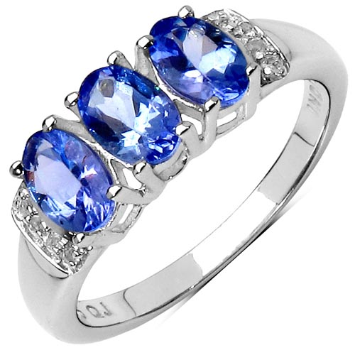 Tanzanite:Oval/6x4mm 3/1.32 ctw + Topaz White:Round/1.00mm 8/0.04 ctw #29637v3