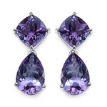 Amethyst:Pear/12x8mm + Amethyst:Cushion/8.00mm 2/4.40 ctw + Diamond White:Round/0.90mm 2/0.01 ctw #28062v3