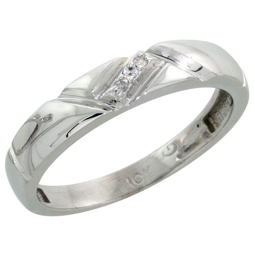10k White Gold Ladies Diamond Wedding Band Ring 0.02 cttw Brilliant Cut, 5/32 inch 4mm wide #16281v3