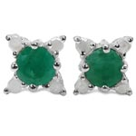 Emerald:Round/4.00mm 2 /0.50 ctw + Diamond White:Round/1.50mm 8 /0.12 ctw #28069v3