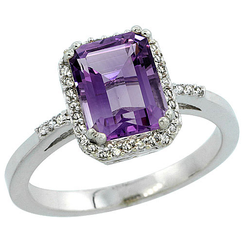 10K White Gold Natural Diamond Amethyst Ring Emerald-cut 8x6mm, sizes 5-10 #15565v3