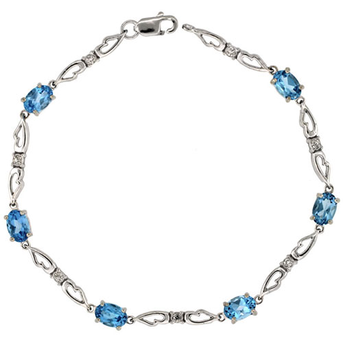 10k White Gold Double Fancy Heart Tennis Bracelet 0.05 ct Diamonds & 3.0 ct Oval Blue Topaz, 3/16 inch wide #16327v3