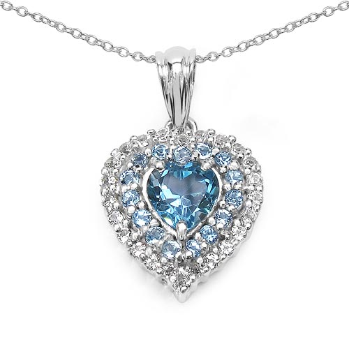 Topaz Blue:Heart Shape/8.00mm 1/2.00 ctw + Topaz Blue:Round/1.70mm 15/0.53 ctw + Topaz White:Round/1.70mm 24/0.84 ctw #29940v3