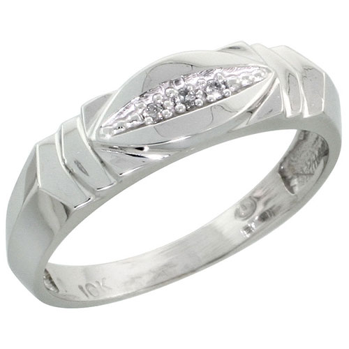 10k White Gold Ladies Diamond Wedding Band Ring 0.02 cttw Brilliant Cut, 3/16 inch 5mm wide #16290v3