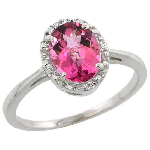 10k White Gold Natural Pink Topaz Ring Oval 8x6 mm Diamond Halo, sizes 5-10 #16317v3