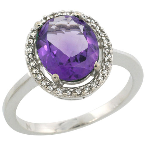 10K White Gold Diamond Halo Natural Amethyst Ring Oval 10X8 mm, sizes 5-10 #15539v3