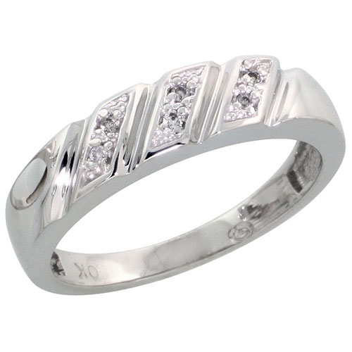 10k White Gold Ladies Diamond Wedding Band Ring 0.03 cttw Brilliant Cut, 3/16 inch 5mm wide #16285v3