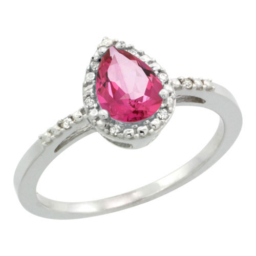10K White Gold Diamond Natural Pink Topaz Ring Pear 7x5mm, sizes 5-10 #16319v3