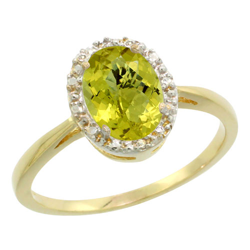 10K Yellow Gold Natural Lemon Quartz Diamond Halo Ring Oval 8X6mm, sizes 5 10 #16294v3