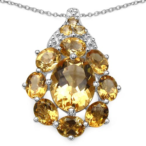 Citrine:Oval/10x8mm 1/2.50 ctw + Citrine:Oval/5x4mm 8/2.64 ctw + Citrine:Round/2.00mm 3/0.09 ctw #29781v3